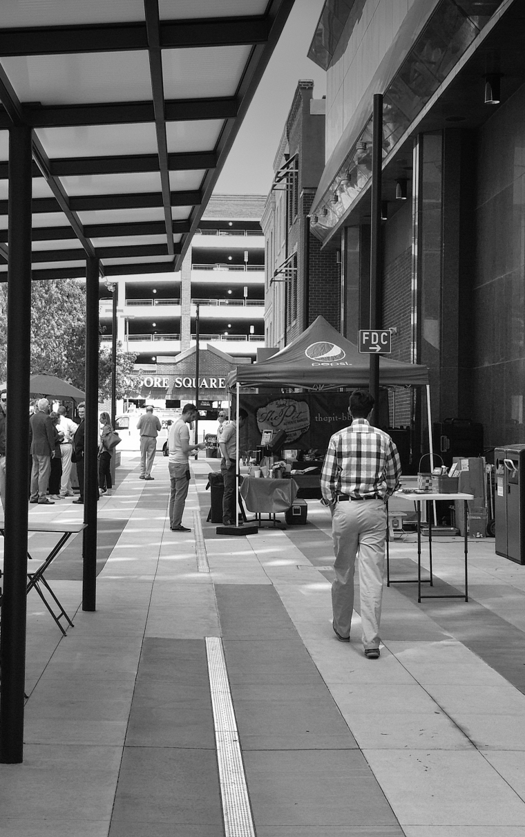 Black and White Pedestrian Image