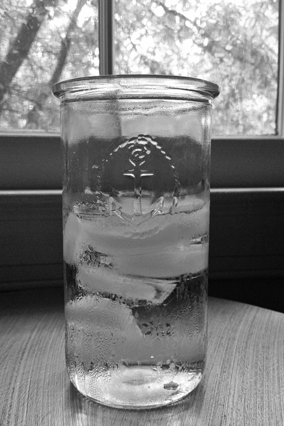 Glass of water black and white