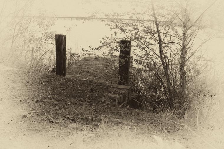 The dock in sepia