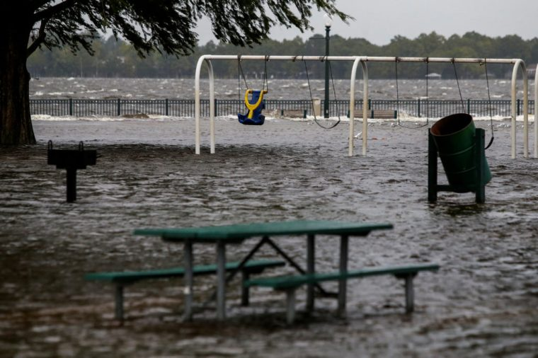 The Union Point Park Complex is seen flooded as the Hurricane Florence comes ashore in New Bern, North Carolina
